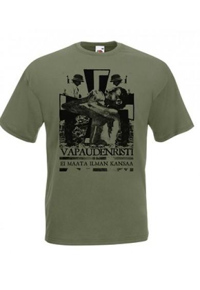 "VAPAUDENRISTI ""army green""-t-shirt XL"